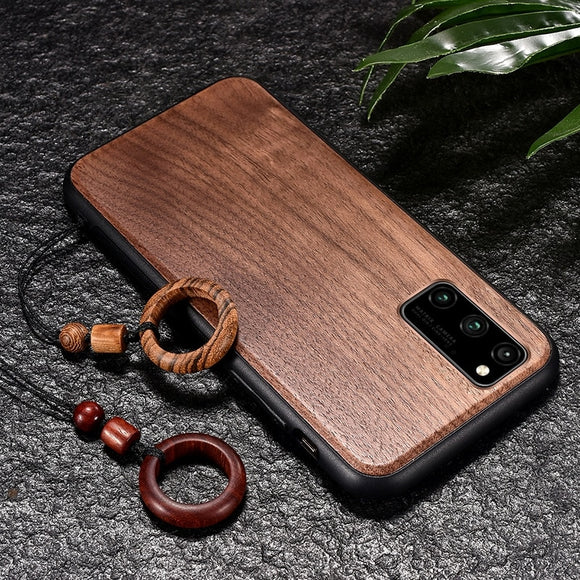 Real Wooden Hard Shockproof Back Phone Cover with Wood Lanyard for Samsung Galaxy S20 Series