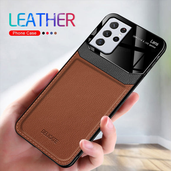 6D Soft Back Covers Shockproof Leather Flip Phone Case For Samsung Galaxy S21 Ultra