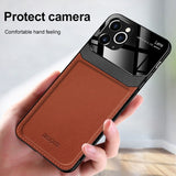 PU Leather Mirror Tempered Glass Lens Protection Case for iPhone 12 Series