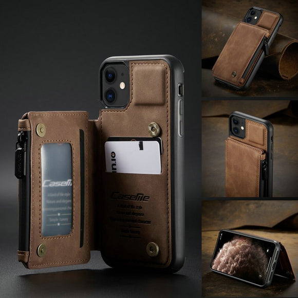 Retro Leather Zipper Wallet Back Case Heavy Duty Protection with Kickstand Case For iPhone 11 Series