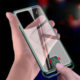 Aluminum Bumper Tempered Glass R just Push Pull Metal Frame Case For Samsung S20 Series