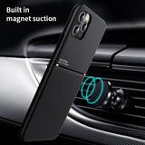 Soft Silicone Car Magnetic Holder Ultra thin Leather IQS Design Case For iPhone 12 Series