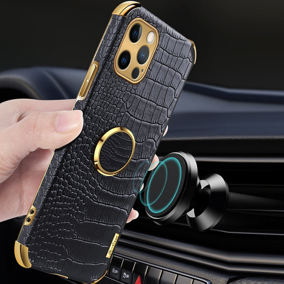 Genuine Leather Magnetic Car Holder Case For iPhone 12 11 Series