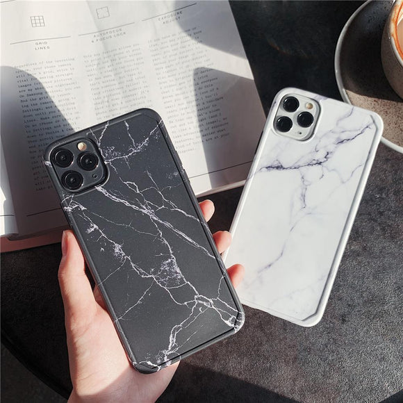 Fashion Shockproof Frame Bumper Marble Soft Silicone Phone Case For iPhone 12 11 Series