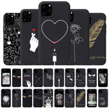 Cute Cartoon Soft Black Silicon Case For iPhone 11 Series