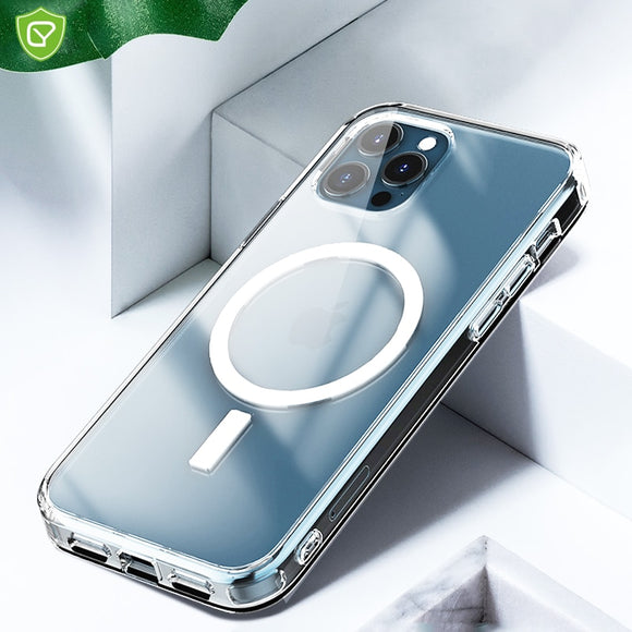 New Magnetic Adsorption Clear Case Support Wireless Charging with Scratch proof For iPhone 12 11 Series