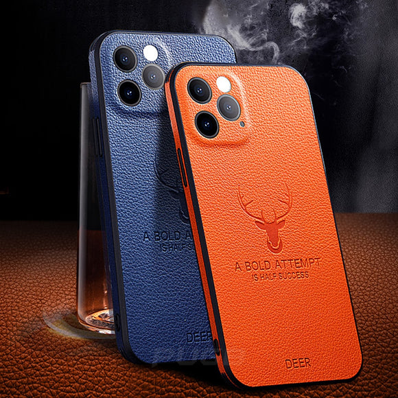 Luxury Square Edge Soft Leather Shockproof Case For iPhone 12 & iPhone 11 Series