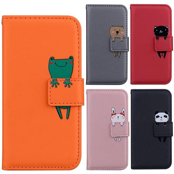 Fashion 3D Cartoon Animal Flip PU Leather Wallet Case For iphone 12 11 Series