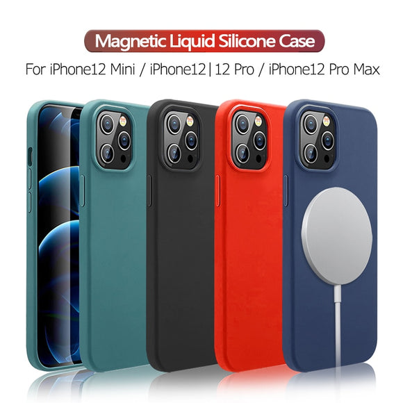 Magsafe Magnetic Liquid Silicon Case For iPhone 12 Pro Max | 12 Pro | 12 Mini | 12