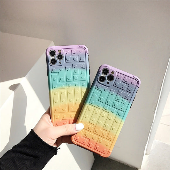 Luxury Square Gradient Rainbow Building Blocks Waterproof Case for IPhone 11 Series