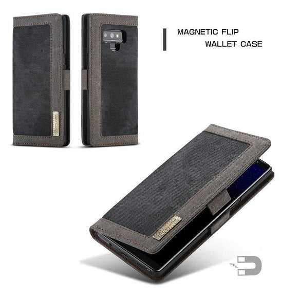 Galaxy Note 9 Jean Leather Case with Credit Card Money Slots
