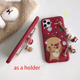 Cute Santa Claus Phone Case with Bracelet Holder Back Cover for IPhone 11 Pro MAX X XS XR XS MAX