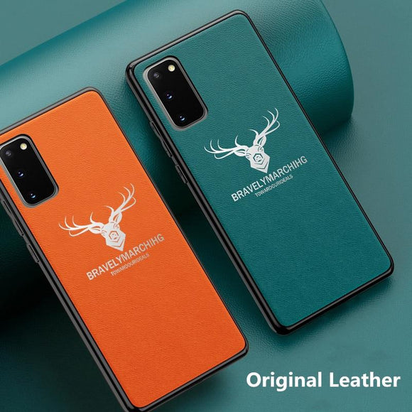 Plain Crust Leather Case For Samsung S20 S20 Ultra S20Plus
