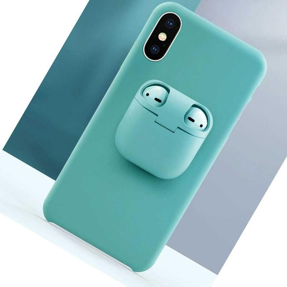 Liquid Silicone Phone Case with Unique AirPod Case Holder for IPhone 11 Pro X XS XR XS MAX