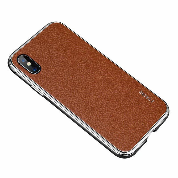 Luxury Genuine Leather Metal Frame Magnetic Case For iPhone X XS MAX