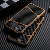 Luxury Woodern Matte Carbon Fiber Leather Heavy Duty Protection Case Cover For iPhone 11 Pro X Xr Xs Max