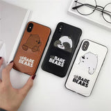Embroidery We Bare Bears Card Pocket Case For iPhone X XS Max RX