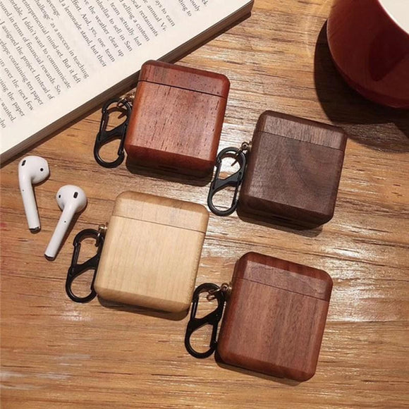 New Creatived Wooden Headset Protective Sleeve for Apple AirPods Case with Keychain