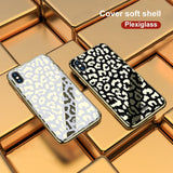 Plating Glass Leopard Print Case For iPhone X XS MAX XR 7 8 Plus 6 6S