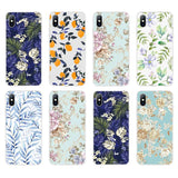 2019 Summer Flowers Green Leaves Phone Case For iPhone XS Max XR 8 7 6s Plus