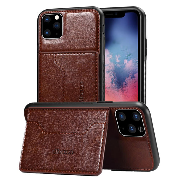 Ultra Thin Wallet Protective Case with Kickstand Card Holder Shockproof Cover for iPhone 11 Pro Max X XR XS