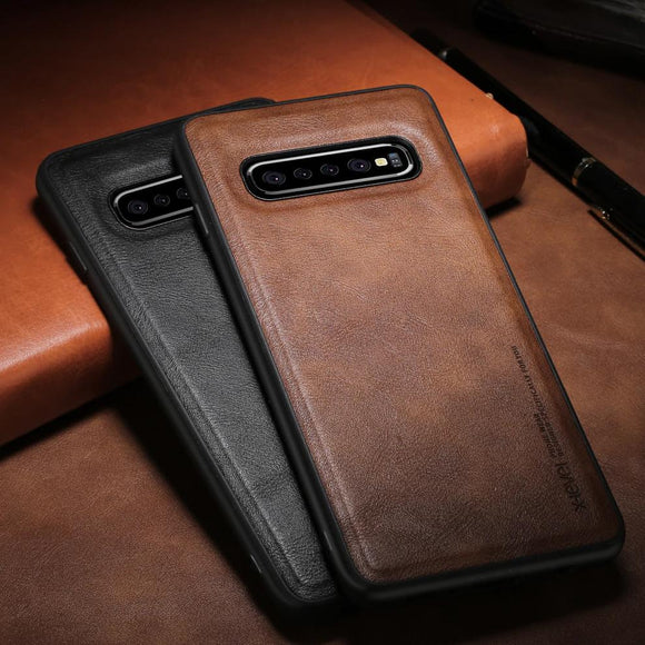 Leather Soft Silicone Edge Case For Samsung Galaxy S10 S10e S10 Plus