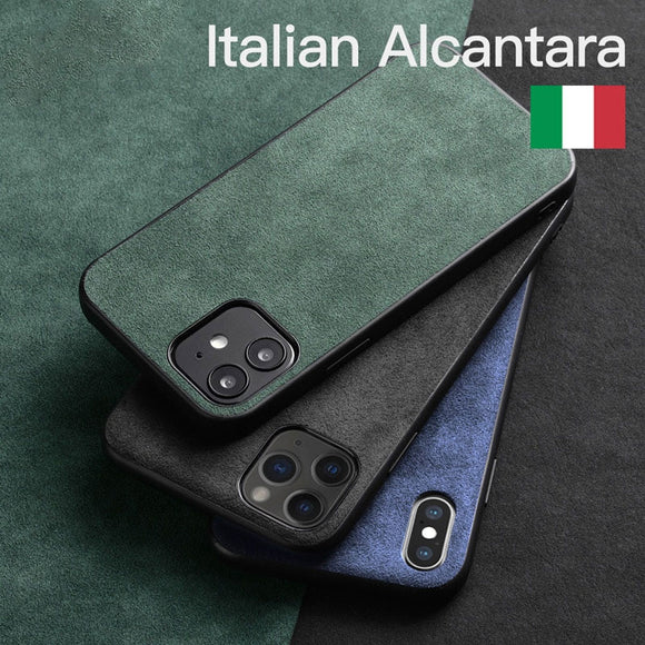 Luxury Artificial Leather Business Alcantara Case for iPhone 12 11 Series