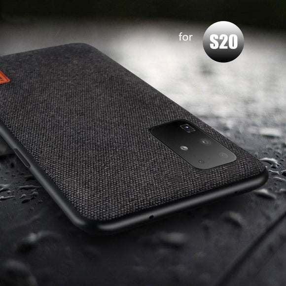 Business Shockproof Cloth Fabric Silicone Back Cover Case for Samsung Galaxy S20 S20 Plus S20 Ultra