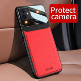 PU Leather Glass Back Cover Shockproof Case for iPhone 12 Series
