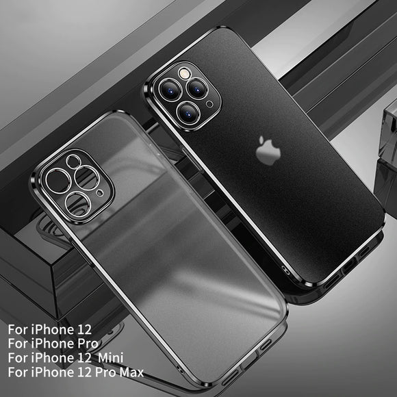 Plating Edge with Frosted Cover Shockproof Case For iPhone 12 Series