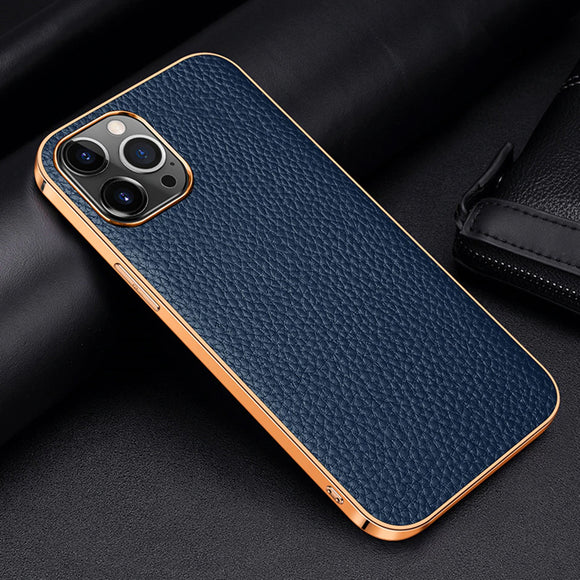 Real Pure Cowhide Leather Golden Plating Frame Full wrapped Case for iPhone 12 11 Series