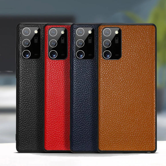 Genuine Leather Soft Cover Lychee Grain Phone Case for Samsung Note 20 Series