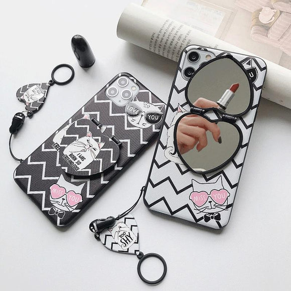Silicone Creative Case with Makeup Mirror Bracket For iPhone SE 2020 & 11 Series