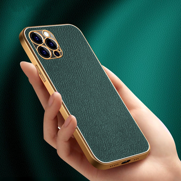 Luxury Real Cowhide Leather Frame Electroplating Phone Case for iPhone 12 11 Series