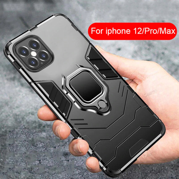 Armor Shockproof Case with Magnetic Car Holder Cover Case For iPhone 11 & 12 Series