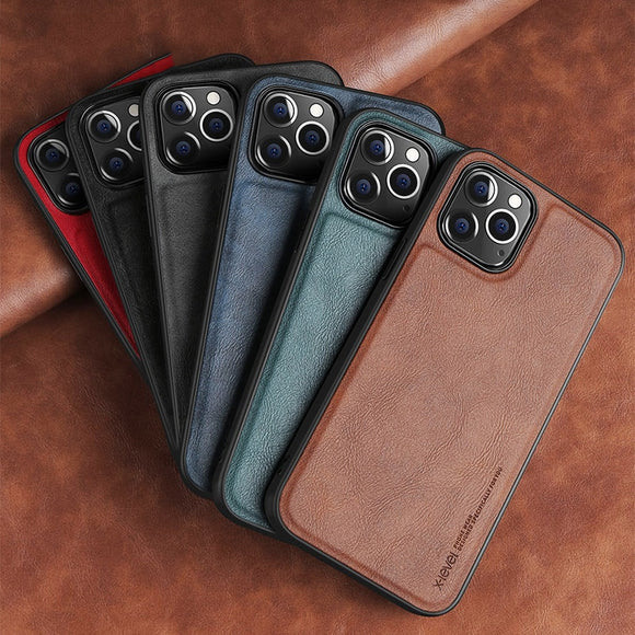 Shockproof Soft Silicone Edge Back Cover PU Leather Case For iPhone 12 Series
