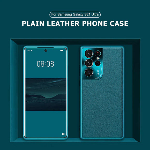 Luxury Hardware Plain Leather Shockproof Phone Case For Samsung Galaxy S21 S20 Note 20 Series