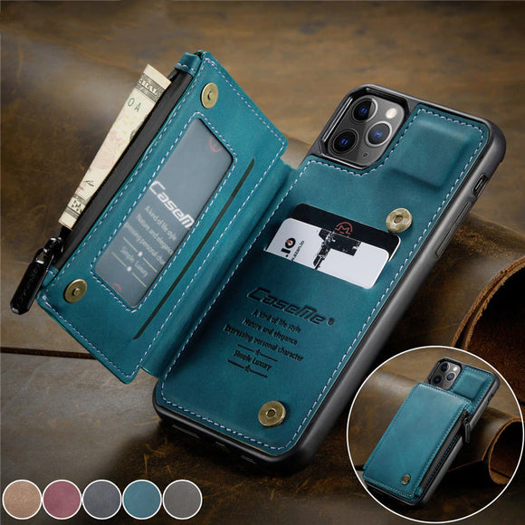 Luxury Retro Fashion Leather Zipper Wallet Flip Phone Case For iPhone 11 & iPhone 12 Series