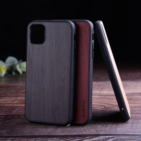 Soft TPU Silicone Hard PC Wood PU Leather Skin Cover for iPhone 11 Pro Max
