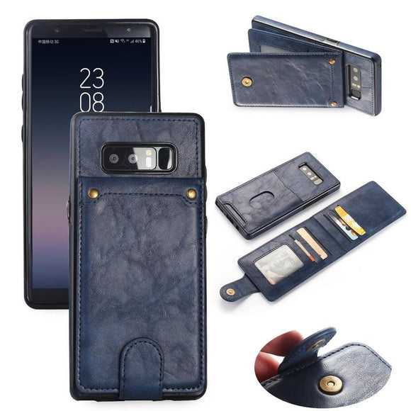 Flip Wallet Vertical Card Holder Leather Phone Case Retro Back Cover For Samsung Galaxy S8 S9 Plus Edge Note 8 9