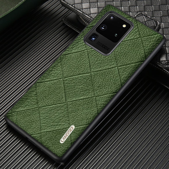 Genuine Rhombus Grain Leather Phone Case for Samsung Galaxy S20 Series