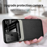Leather Mirror Glass Back Cover Shockproof Case for Samsung S21 S20 Note 20 Series