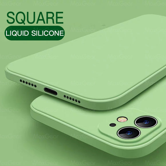 New Luxury Original Square Liquid Silicone Soft Case For iPhone 11 Series