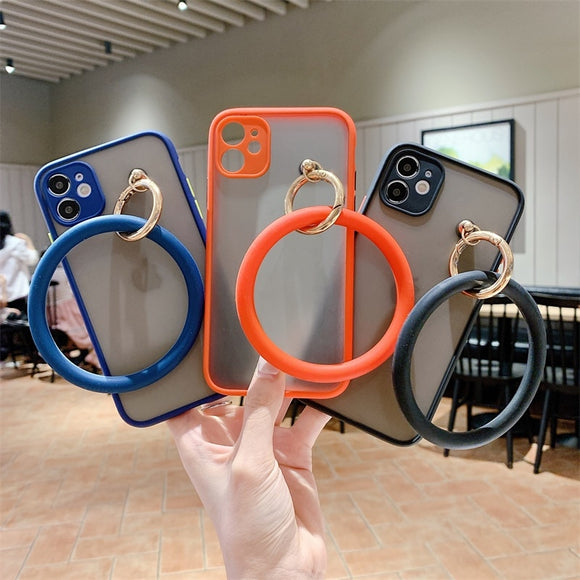 Big Circle Wristband Matte Fashion Luxury Logo Transparent Phone Case For IPhone 11 Series