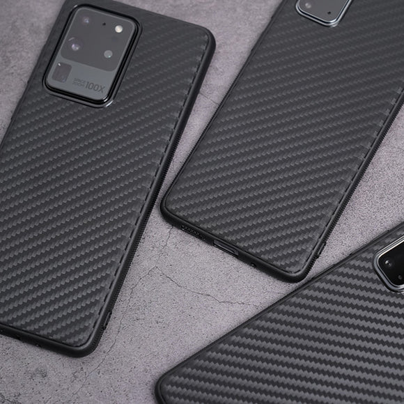 Carbon Fiber Drop Protection Soft Matte Silicone Case for Samsung Galaxy S21 S20 Note 20 Series