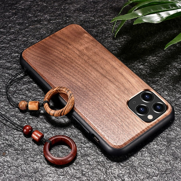 Real Wooden Hard Shockproof Back Cover Case with Wood Lanyard for iPhone 12 & 11 Series