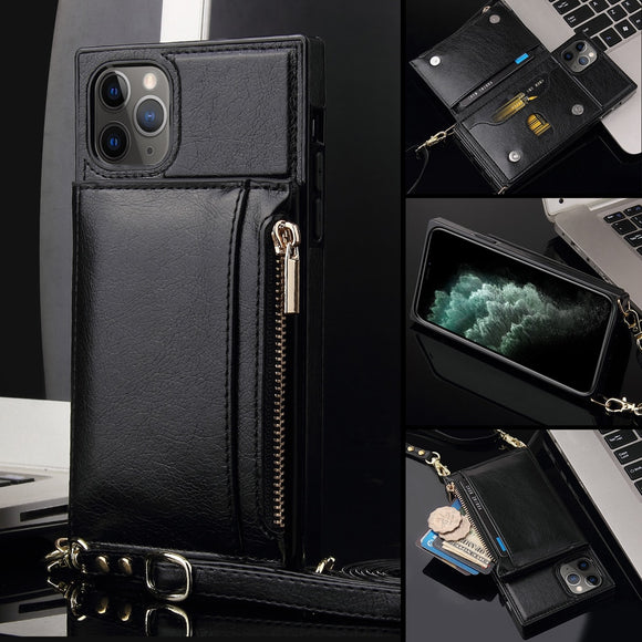 Crossbody Card Zipper Wallet Lanyard Holder Strap Pouch Cover Case for iPhone 12 & 11 Series