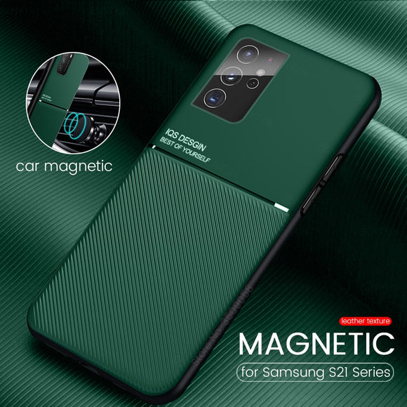 Leather Texture Car Magnetic Holder Slim Matte Silicon Shockproof Cover for Samsung Galaxy S21 Ultra Plus