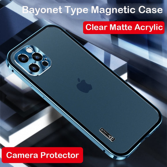 Luxury Magnetic Metal Bumper Camera Lens Protector Matte Acrylic Clear Case For iPhone 12 Series