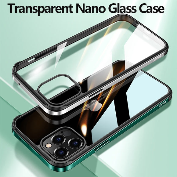 Luxury Transparent Metal Frame Nano Glass Case for iPhone 12 11 Series